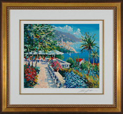 Kerry Hallam - Amalfi Terrace hand-signed serigraph on paper Framed