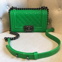 Chanel Small Boy Bag Neon Green Patent Leather WRuthenium Hardware *Pre-loved*