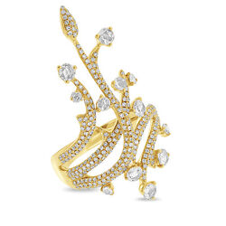 1.18 Ct 14k Yellow Gold Vintage Antique Inspired Branches Rose Cut Diamond Ring