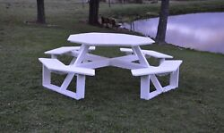 Aandl Furniture Co. 54 Amish-made Octagonal Poly Walk-in Picnic Table And Benches