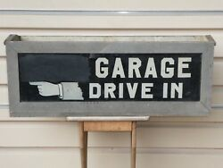 Antique Old Original Early Garage Drive In Reverse Glass Lighted Trade Sign Gas