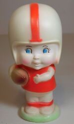 Works Vintage 1960s Football Player Dog Squeak Squeaky Rubber Toy Sanitoy Ma Usa