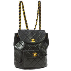 Auth CHANEL Quilted CC Chain Drawstring Backpack Bag Black Leather VTG G03412
