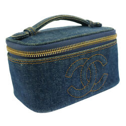 Authentic CHANEL CC Logos Cosmetic Hand Bag Pouch Denim Vintage GHW K0799