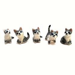 5 X Dollhouse Miniatures Ceramic Cat Striped Tiny Animal Figurines Collectibles