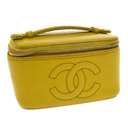 Auth CHANEL CC Cosmetic Hand Bag Pouch Yellow Caviar Skin Leather AK16257A