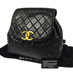 Auth CHANEL Quilted CC Logos Chain Backpack Bag Black Leather Vintage LP00154