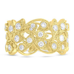 Womens 1.60ct 14k Yellow Gold Floral Leaf Open Lace Wide Diamond Cocktail Ring