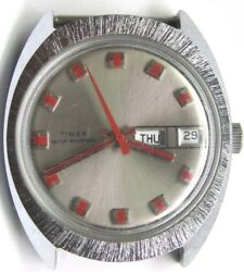 Vintage Gents Timex Date/ Day Red 2nd Hand Stainless Steel Wrist Watch.