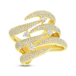 Womens 1.12ct 14k Yellow Gold Diamond Pave Open Claw Cocktail Ring