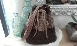 Crochet Bag Brown Colorblock Bucket Bag Handmade Gift for Her Made in Greece