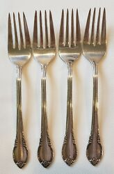 1847 Rogers Bros Is Remembrance Silverplate 4 Salad Forks 6 3/4 Flatware