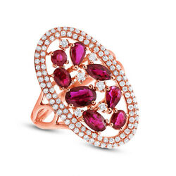 2.57 Ct 14k Rose Gold Pear Oval Round Marquise Ruby Medley Diamond Cocktail Ring