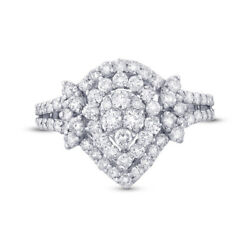 1.29 Ct 18k White Gold Pear Shape Round Diamond Cocktail Right Hand Ring Vs2