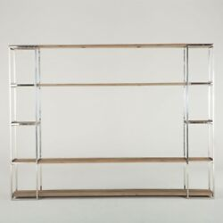 105 Luxe Bookcase Weathered Elm Hardwood Stainless Steel Frame Carved Detail