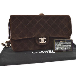 Auth CHANEL Quilted CC Logos Chain Backpack Bag Dark Brown Suede SHW AK14373
