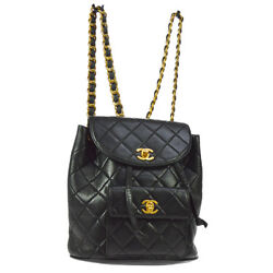 Auth CHANEL Quilted CC Chain Drawstring Backpack Bag Black Leather VTG A35584a