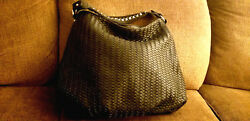 DEUX LUX NORDSTROM WOVEN BLACK HOBO STRAP CHAIN VEGAN LEATHER LARGE