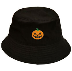HAPPY HALLOWEEN Pumpkin Face Logo Stitched Black Bucket Hat 100% cotton $14.99