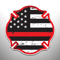 Thin Red Line Flag Firefighters Crest Vinyl Decal Sticker Police Military
