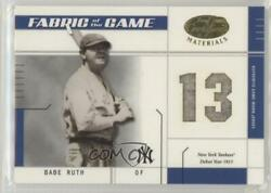 2003 Leaf Certified Materials Fabric Of The Game Babe Ruth Debut Year Team Hof