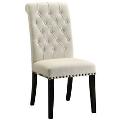 Parkins Cream Fabric Upholstered Side Dining Chair With Nailhead Trim, Set Of 2