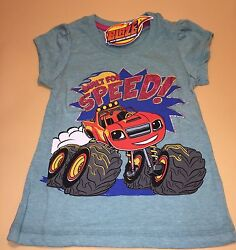 Blaze And The Monster Machines Toddler Girl Turquoise Short Sleeve Shirt New 2t