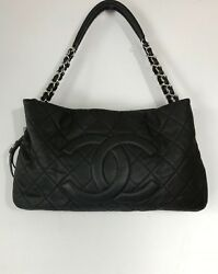 Chanel large handbag shoulder tote CC black leather quilted zipper chain strap