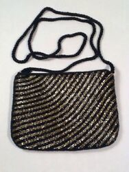 Beaded Evening Bag Clutch Or Over Shoulder (gold and black Beaded)