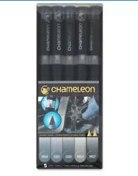Chameleon Color Tones Double-Ended 5 Pen Art Marker Set GRAY TONES