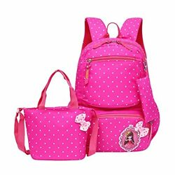 Moonwind Polka Dot School Backpack for Girls Kids Book Bags and Handbag Pouch 3