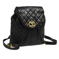Authentic CHANEL Quilted CC Chain Backpack Bag Black Leather Vintage AK17452g