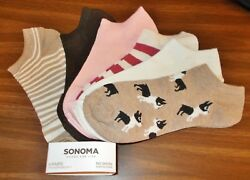 Women's 6 Pack No Show Ankle Socks - Mixed  Boston Terrier Dog - (9-11) - NEW