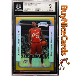 03-04 Lebron James Bowman Chrome Gold Refractor RC Rookie Jersey #2350 BGS 9