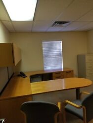 7' X8' Executive U-shape Desk W/ Upper Storage Cabinets By Kimball Office