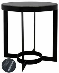 25 Set Of Two Side Table Metal Frame Circle Base Black Marble Stone Top Round