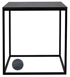 29 Tall Set Of Two Side Table Night Stand Metal Frame Square Inset Marble Top