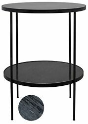 30 Tall Set Of Two Side Table Metal Frame Black Marble Stone 2 Shelves 759