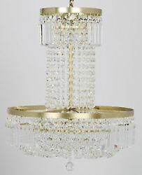 23 Chandlier Round Metal Frame Antique Gold Supports Clear Glass Crystals