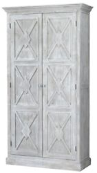 87 Tall Erminia Cabinet Solid Hardwood X Pattern Detail Double Doors Antique