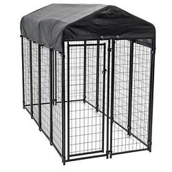 Lucky Dog Uptown Large Outdoor Covered Kennel Heavy Duty Dog Fence Pen 5 Pack