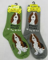 2 Pairs Foozy Womens Dog Socks Basset Hound Foozys Canine Collection zbest4less