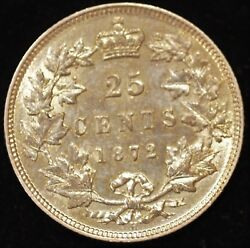 1872-H EXTREMELY FINE-ALMOST UNCIRCULATED Canadian Twenty Five Cents