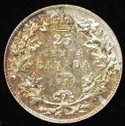 1919 HIGH END ALMOST UNCIRCULATED Canadian Twenty Five Cents