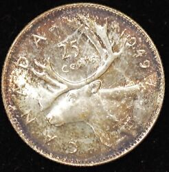 1949 CHOICE UNCIRCULATED (toned original surfaces) Canadian Twenty Five Cents