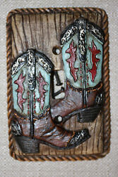(3)Rustic Western Bath Decor Single Light Switch Plate Cover Realistic Boots