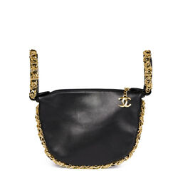 CHANEL BLACK LAMBSKIN CHAIN AROUND TIMELESS WRISTLET  HB1577