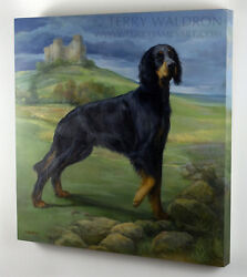 Original Classical Style Dog Oil Painting Gordon Setter By Terry Waldron Signed