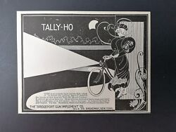 Vintage 1896 The Bridgeport Gun Implement Co. Tally-ho Bicycle Light Original Ad