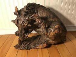 A Huge Antique Wood Carving Wild Boar Signed / Circa 1930